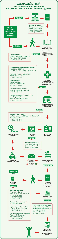 Схема действий для получения лицензии и разрешения на травматическое и охотничье оружие